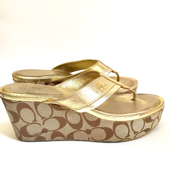 Coach Shoes | Coach Gold Wedge Sandals